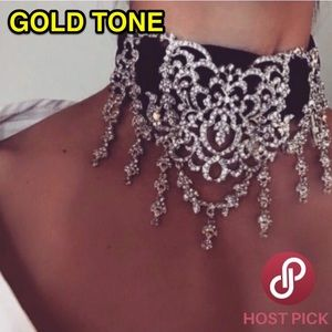⚜️[𝗡𝗪𝗧]⚜️Gold Crystal Wide Statement Choker NEW